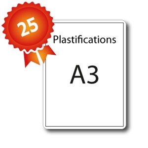 25 Plastifications A3 (30x40) - 5 jours