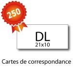 250 Cartes de correspondance DL (21x10cm) - 2 jours