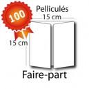 100 Faire-part carré 15 / 30x15 - 2 jours