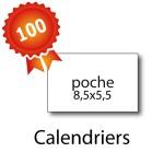 100 Calendriers de poche 8,5x5,5 cm - 2 jours