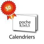 50 Calendriers de poche 8,5x5,5 / 17x5,5 cm - 3 jours