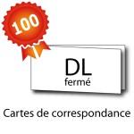 100 Cartes de correspondance double volet DL 21x10 / 42x10 - 2 jours