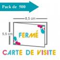 500 Cartes de visite double volet 8,5x5,5 / 17x5,5 - 2 jours