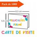 1000 Cartes de visite double volet 8,5x5,5 / 17x5,5 pelliculées - 3 jours