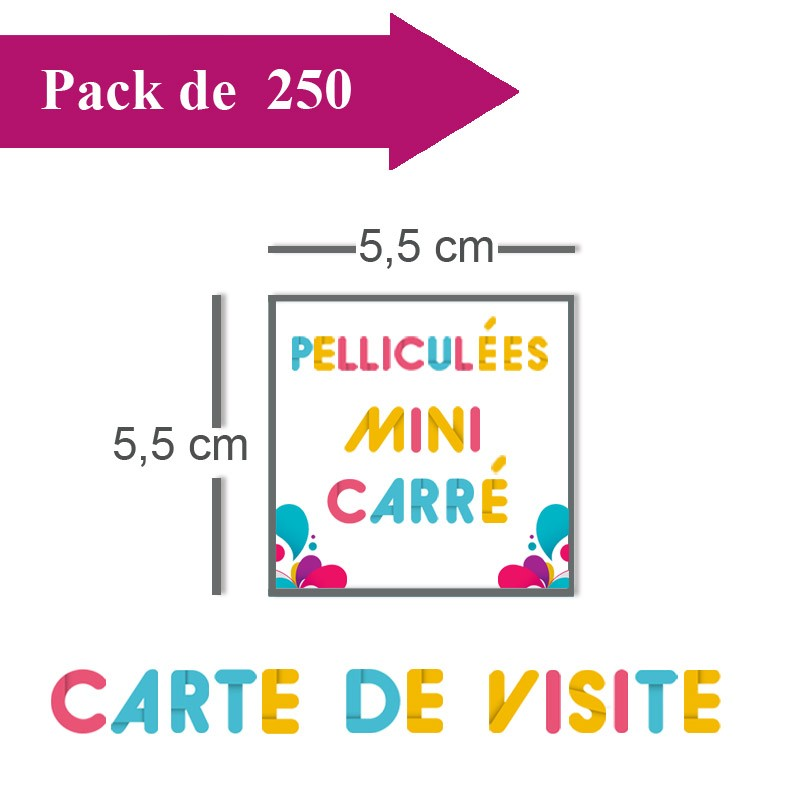 Impression 250 Cartes De Visite Mini Carre 55x55 Pelliculees