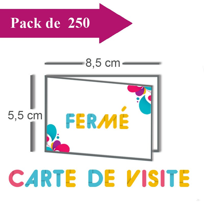 Impression 250 Cartes De Visite Double Volet 85x55 17x55 Pelliculees