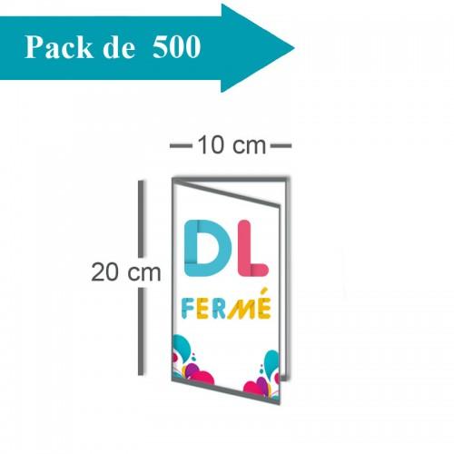 500 Dépliants double volet DL fermé (10x20) / Carré ouvert (20x20) - 3 j