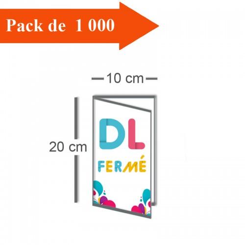 1000 Dépliants double volet DL fermé (10x20) / Carré ouvert (20x20) - 3 j
